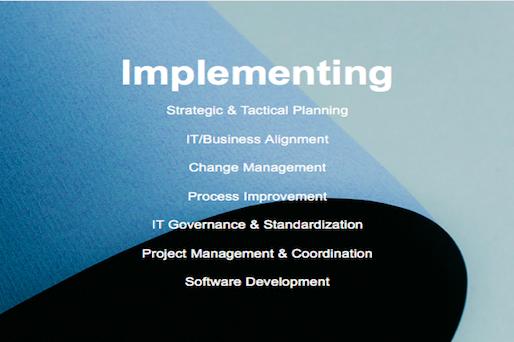Implementing Strategic & Tactical Planning IT/Business Alignment Change Management Process Improvement IT Governance & Standardization Project Management & Coordination Software Development